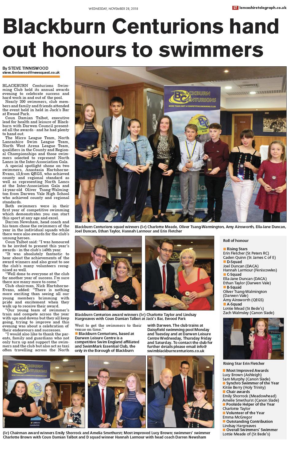 Blackburn centurions awards evening